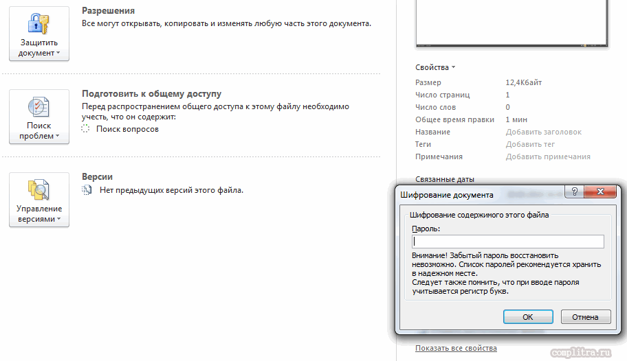 пароль на документ в Word 2010