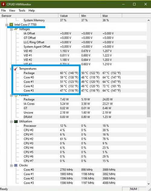 Как узнать температуру процессора компьютера CPUID HWMonitor